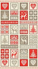 Scandinavian Decorative Christmas Holiday Quilting Fabric Panel Makower 14831