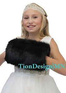 Black Faux Fur HandMuff Child FLEECE LININ | Child Fur Hand Warmer | Tion Design