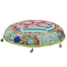 """Green Round Patchwork Embroidered Indian Ethnic Cotton 22"""" Floor Cushion Cover"""