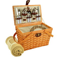 Frisco Traditional American Style Picnic Basket for 2 w/ Blanket -London Plaid
