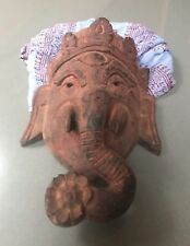 LARGE VINTAGE INDIAN WOODEN GANESHA MASK. HAND-CARVED, NEPALESE HINDU, BUDDHIST.