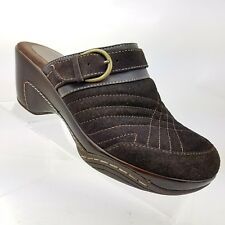 Bass Tebow Womens Mules 9 M Brown Leather Slip On With Adjustable Strap Shoes