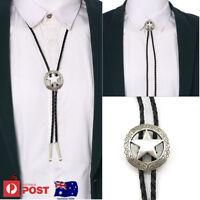 Western Cowboy Men Star Alloy Leather Shirt Bolo Tie Pendant Necklace Xmas Gift