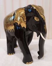 "GOLD LEAF LACQUERED ELEPHANT HAND CARVED WOOD AND HAND PAINTED 8.5"" HIGH"