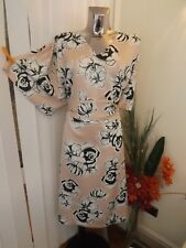 M&s Curve Pink Ivory Black Tea Dress Size 20 Reg RP Wedding Christening