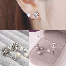 Silber Frauen Schmucksache Elegant Perle Strass Ohr Bolze Ohrring Geschenk