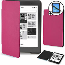 Pink Smart Case Wallet Sleeve Shell Cover Kobo Aura Edition 2 Screen Prot Stylus