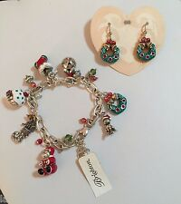 NWT Brighton HOLLY CHRISTMAS Bracelet and Earrings Set + POUCH * MSRP $140