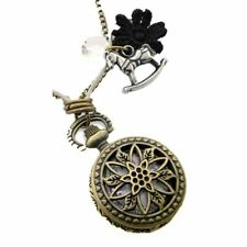 Vintage Brass Watch Charm Necklace with Rocking Horse Charm - Pendant Gold Tone
