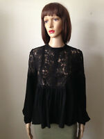 FOREVER 21 Jr M Black LACE BABY DOLL BLOUSE TOP Long Sleeves Keyhole Back NWOT