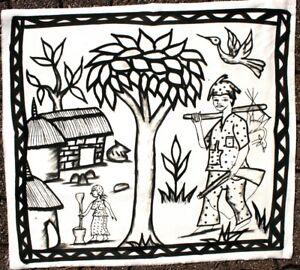 Arte Africano - Tela Di Korhogo - Deco Etnico Africa - Nero & Bianco - 72 CMS