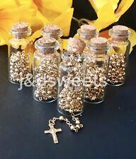 12 PC Glass Bottle Gold Rosary Baptism Favors Boy/Girl Recuerdos Bautizo Rosario