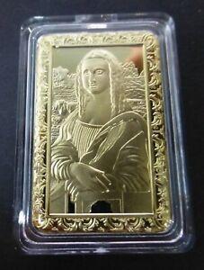 LEONARDO DA VINCI MONA LISA - 1OZ GOLD LAYERED BAR
