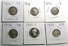 6 OLD US COINS-1937 SILVER DIME/1889 INDIAN CENT/1906 NICKEL/1969-S PROOF NICKEL