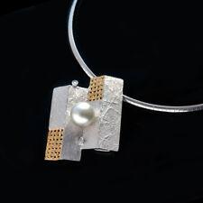 Unique 12mm Silver South Sea Pearl Diamond Pendant Necklace 925 Sterling Silver