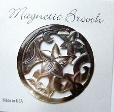 Magnetic Brooch Clip Clasp Black Lip Shell Carved Flower Accessory Scarves