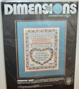"""Friendship Heart"" Counted Cross Stitch Picture Kit Dimension NEW 3572"