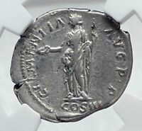 HADRIAN Authentic Ancient 134AD Rome Silver Roman Coin CLEMENTIA NGC i81280