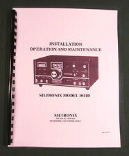 """Siltronix 1011D Operation Manual: 11"""" X 17"""" Foldout Schematic & Plastic Covers!"""
