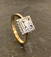 ART DECO RING mit ALTSCHLIFF DIAMANT in 750 / 18K GOLD - PLATIN von 1932