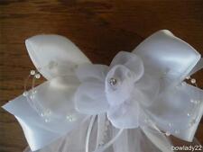 First Communion White Bow Veil  with Organza Rhinestone Rose Center Handmade
