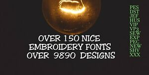 MACHINE EMBROIDERY DESIGNS - 150 FONTS EMBROIDERY DESIGNS - PES DST JEF FORMATS