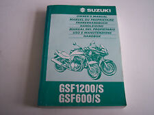 Manuale Conducente manuale di istruzioni Suzuki gsf1200/s gsf600/s in ΕΝ/FR/GE BJ 97
