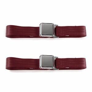 Ford Truck 1961 - 1966  Airplane 2pt Burgandy Lap Bucket Seat Belt Kit - 2 Belts