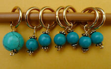 Stitch marker, knitting 6+1 ,  turquise + pewter flower cap