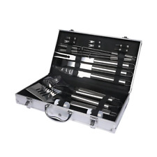 18pcs Stainless Steel BBQ Tool Set Outdoor Barbecue Utensil Aluminium Grill Cook