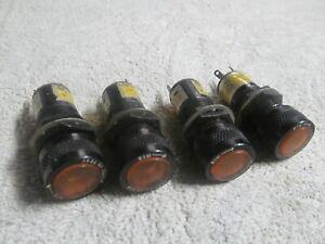 (4) NOS MARCO PANEL INDICATOR LIGHTS, AMBER, USA MADE, NO LIGHT BULBS.