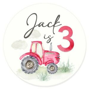 24 Glossy Personalised Red/Pin Tractor Stickers for Party & Sweet  Bags 45mm Dia