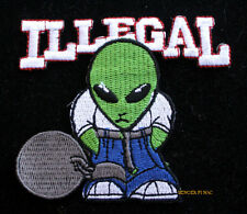 ILLEGAL ALIEN PATCH GROOM LAKE AREA 51  Flying Saucer Roswell PIN UP GREEN MEN