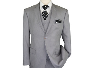 Men Suit Vitali Three Piece Vested English Houndstooth Classic M5916 Black white