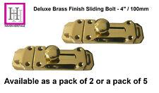 """4"""" Door Bolt Dead Lock Polished BRASS Finish Sliding Deluxe Heavy Duty Catch"""