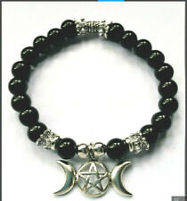 BLACK AGATE natural beaded TRIPLE MOON' stretch BRACELET - Unisex