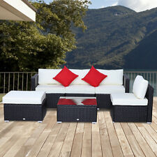 Outsunny 6pcs Outdoor Patio PE Rattan Wicker Sectional Sofa Deluxe Furniture Set