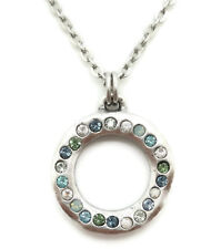 PATRICIA LOCKE Zephyr Blue Green Swarovski Crystal Eddy Circle Silver Necklace