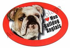 "Magnet chien ""J'aime mon Bulldog Anglais"" pour frigo / voiture idée cadeau NEUF"