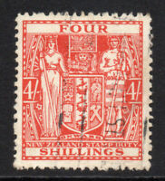New Zealand 4/- Stamp c1940-58 Used (5130)