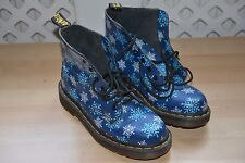 UK SIZE 4 WOMENS DR MARTENS blue SNOW FLAKE  ANKLE BOOTS FESTIVAL