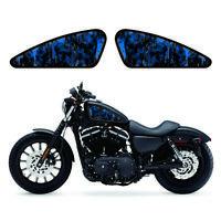 Blue Flame Skeleton Gas Tank Decals Emblem Badges Papers For Harley Davidson