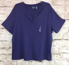 Womens Mountain Lake II Blouse Color Purple Size 2X 100% Cotton