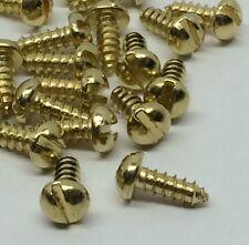 "Round Slot Head Wood Screw # 2 x 1/4 "" Brass Plated Steel 100pcs"