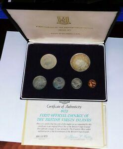 1973 British Virgin Islands Proof Set, First Official Coinage with Silver $1