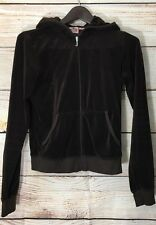 Juicy Couture Brown Velour Long Sleeve Zip Up Hooded Jacket Womens Large