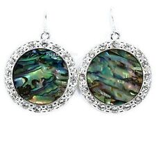 Round Abalone Silver Rhinestone Dangle Hook Earrings Jewelry 13-2