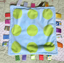 Taggies Blue w Green Polka Dots Plush Baby Security Blanket w Satin Tags EUC