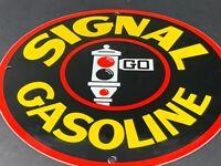 """VINTAGE SIGNAL GASOLINE 12"""" PORCELAIN METAL ADVERTISING GAS OIL SIGN STOP LIGHT"""