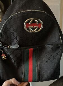 Authentic Gucci Black Canvas Backpack Medium